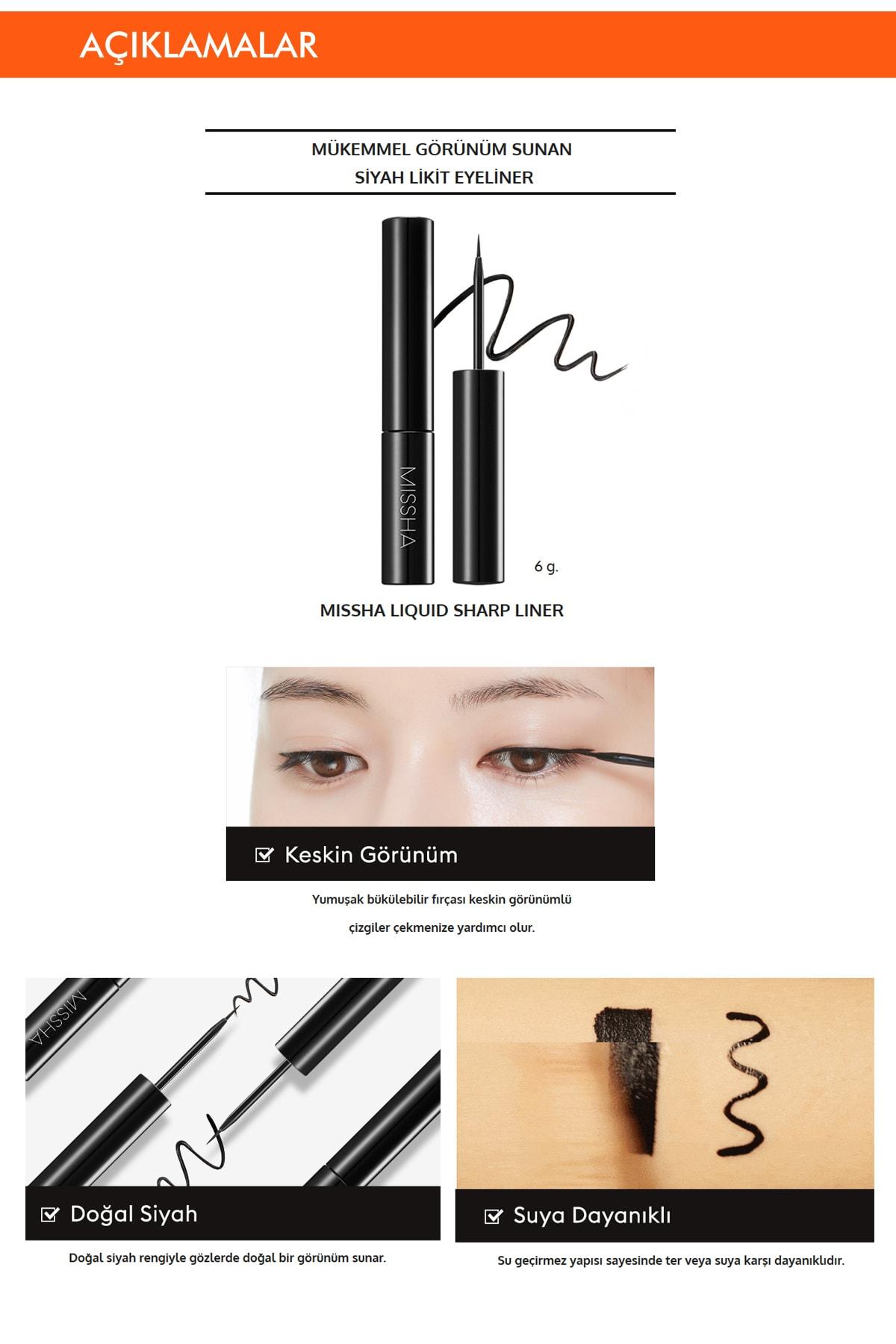 Missha Suya Dayanıklı Likit Eyeliner Liquid Sharp Liner 2