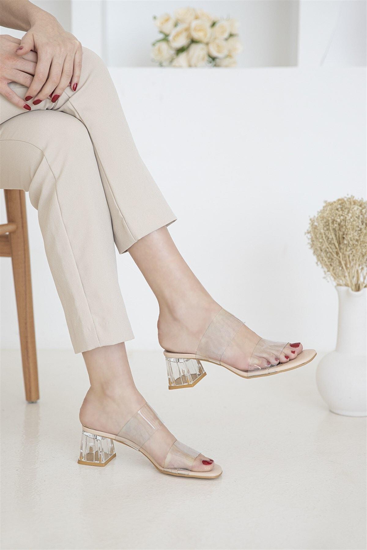 STRASWANS Brown Bayan Şeffaf Topuklu Sandalet Ten 1
