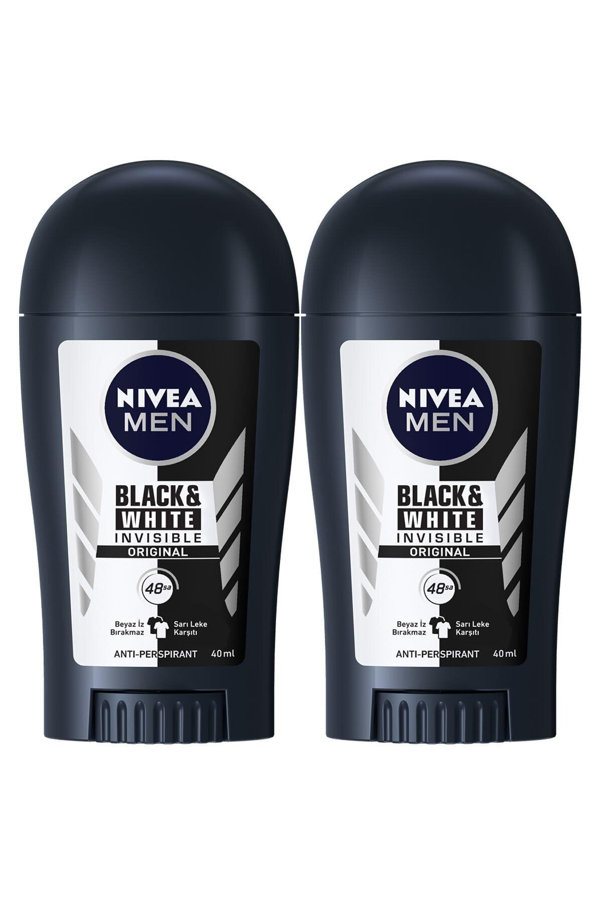 Nivea Men Invisible Black&White Original Erkek Deodorant Stick 40 ml  2'Li 1