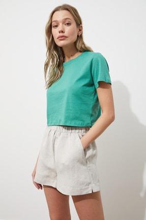 TRENDYOLMİLLA Yeşil %100 Organik Pamuk Crop Örme T-Shirt TWOSS20TS0924