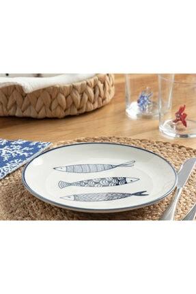 English Home Big Fish Porselen Pasta Tabağı 19 Cm Beyaz - Lacivert