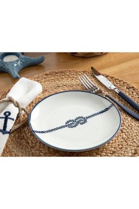 English Home Rope Porselen Pasta Tabağı 19 Cm Beyaz - Lacivert