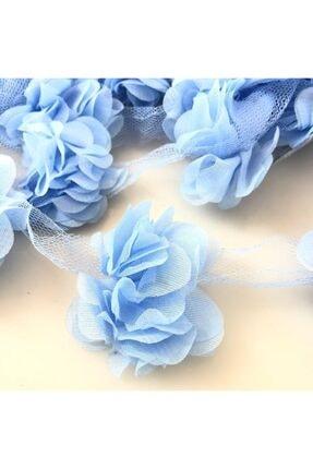 Aker Hediyelik Mavi 1m Gül Lazer Kesim Çiçek 12-13 Adet Organze Tül Kenar Süsü Tekstil Tasarım Kumaşı Yapay Süs