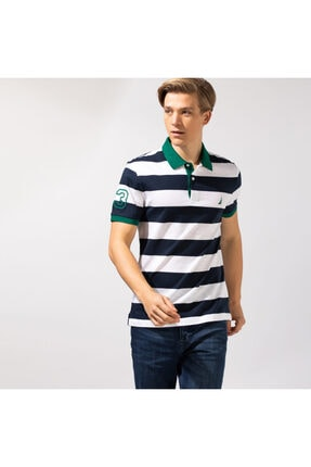 Nautica Erkek Beyaz Çizgili Slım Fıt Kısa Kollu Polo Yaka T-shirt