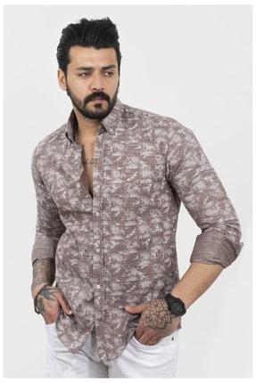 DeepSEA Erkek Kahve Regular Fit Desenli Uzun Kol Gömlek 2106067