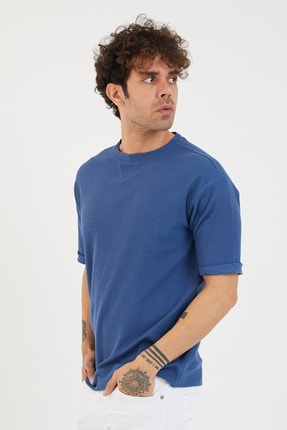 XHAN Erkek Mavi Petek Örgü Waffle Kumaş Oversize T-shirt