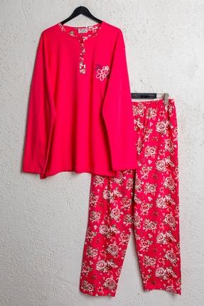 BSM Kadın Pamuklu Nar Çiçeği Çiçekli Battal Pijama Takımı