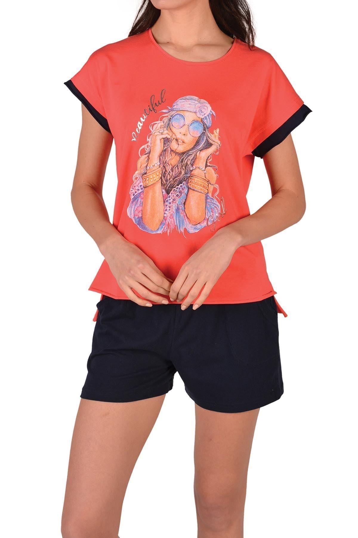 Nicoletta Kırmızı Kadın Şortlu Pijama Takımı Kısa Kollu Cepli Pamuk 1