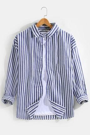 dAcollection Erkek Çizgili Spor Gömlek-mavi/beyaz