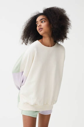 Pull & Bear Kadın Yeşil Ve Lila Blok Renkli Sweatshirt