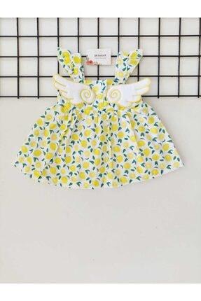 sm bebek Limon Desenli Kanatlı Elbise