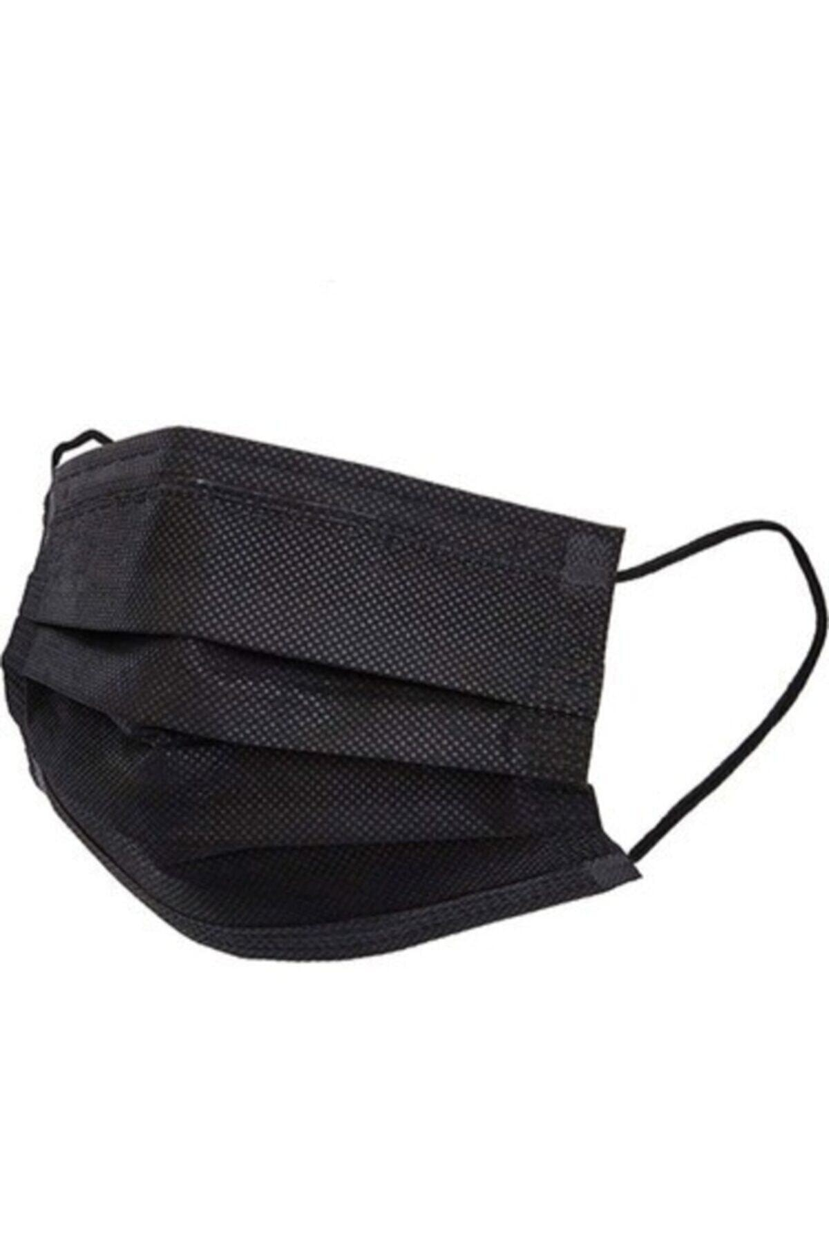 Medikal Maske Siyah Telli 3 Katlı Tam Ultrasonik Cerrahi Maske 50 Adet Afgtekmaskblack 1
