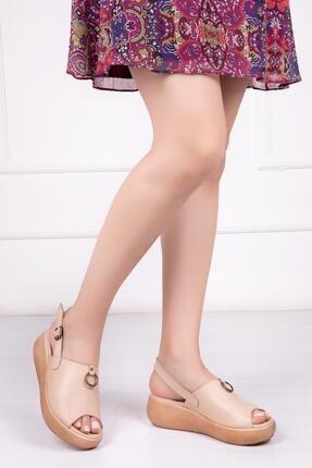 Deripabuc Hakiki Deri Bej Kadın Deri Sandalet Dp-20672
