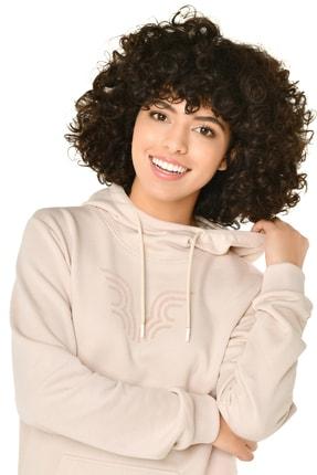 bilcee Krem Kadın Kapüşonlu Sweatshirt Iw-9041