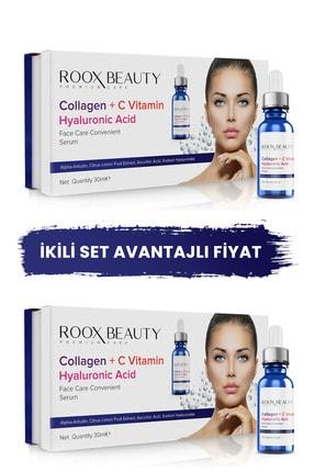 Roox Beauty 2 Adet Kolajen - C Vitamini - Hyaluronik Asit Aydınlatıcı Ve Kırışıklık Karşıtı Yüz Serumu 30 ml