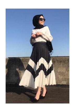Moda Mihran Kadın Siyah Beyaz Zigzag Desen Piliseli Uzun Etek