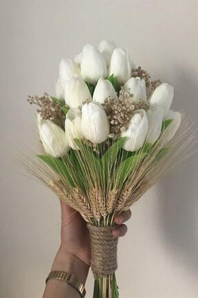 Hayalperest boncuk Krem Islak Lale Ve Kuru Çiçekli Gelin Buketi Yaka Çiçeği