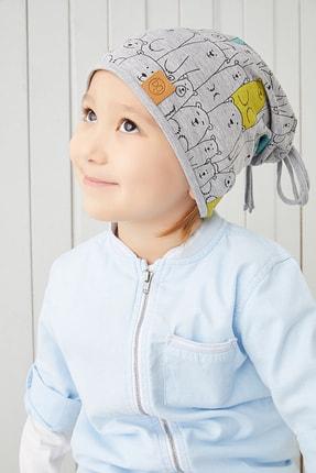 Babygiz Erkek Çocuk Gri Figürlü Ip Detaylı 4 Mevsim Şapka Bere Buff -yumuşak Doğal Penye