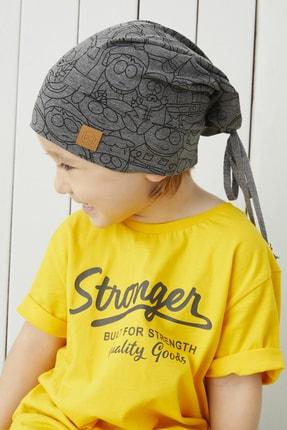 Babygiz Erkek Çocuk Füme Figürlü Ip Detaylı 4 Mevsim Şapka Bere Buff -yumuşak Doğal Penye