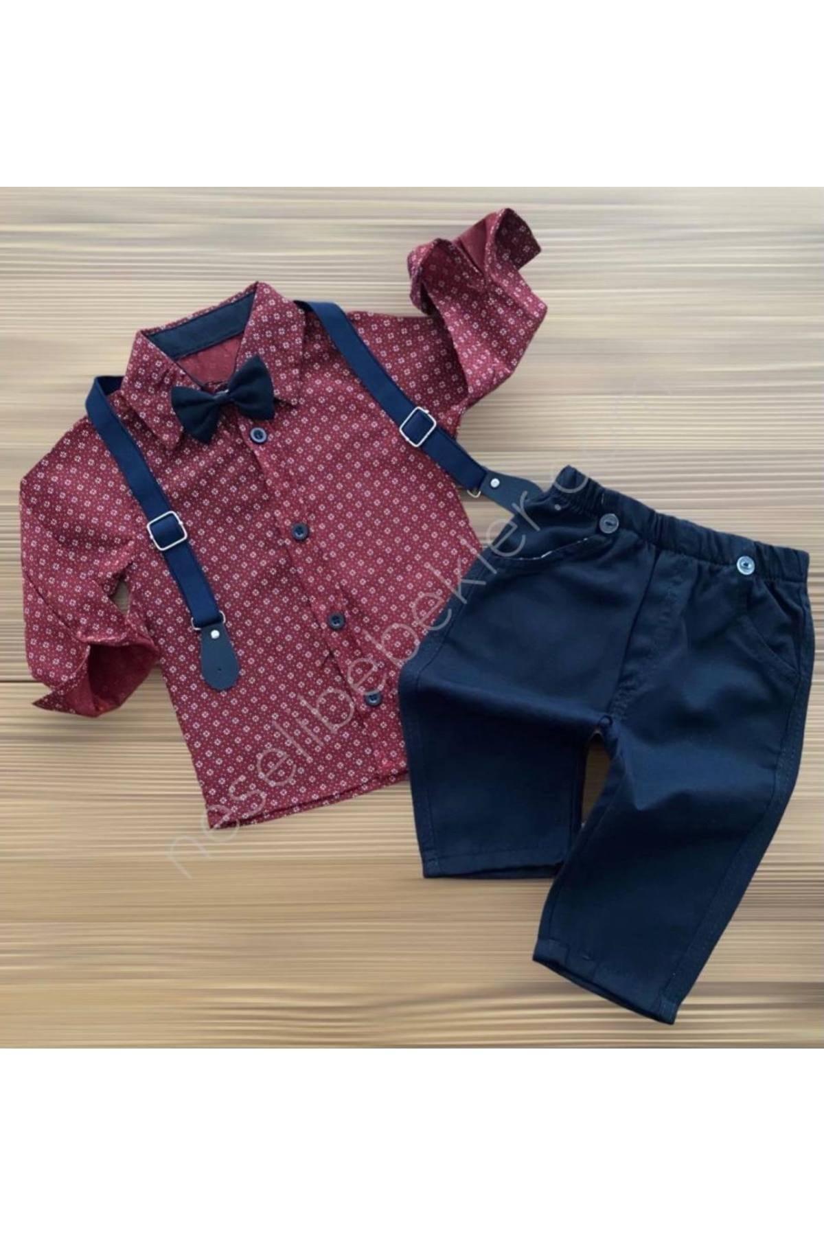 Beren Kids Şık Askılı Bebek Alt Üst Gömlek Takım 1
