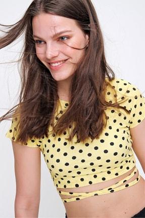 Trend Alaçatı Stili Kadın Sarı Beli Bağlamalı Puantiyeli Bluz ALC-622-001
