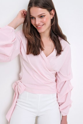 Trend Alaçatı Stili Kadın Toz Pembe Kat Kat Balol Kollu Kruvaze Bağlamalı Bluz ALC-019-059-001