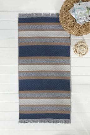 English Home Timeless Stripe Dokuma Çift Taraflı Kilim Kahve-lacıvert