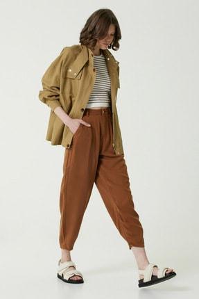 Network Kadın Slim Fit Kahverengi Yüksek Bel Pilili Pantolon 1078505