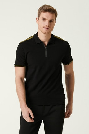 Network Erkek Slim Fit Siyah Polo Yaka T-shirt 1078379