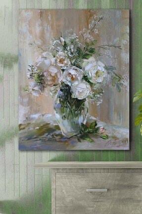 Hediyeler Kapında White Roses Kanvas Tablo