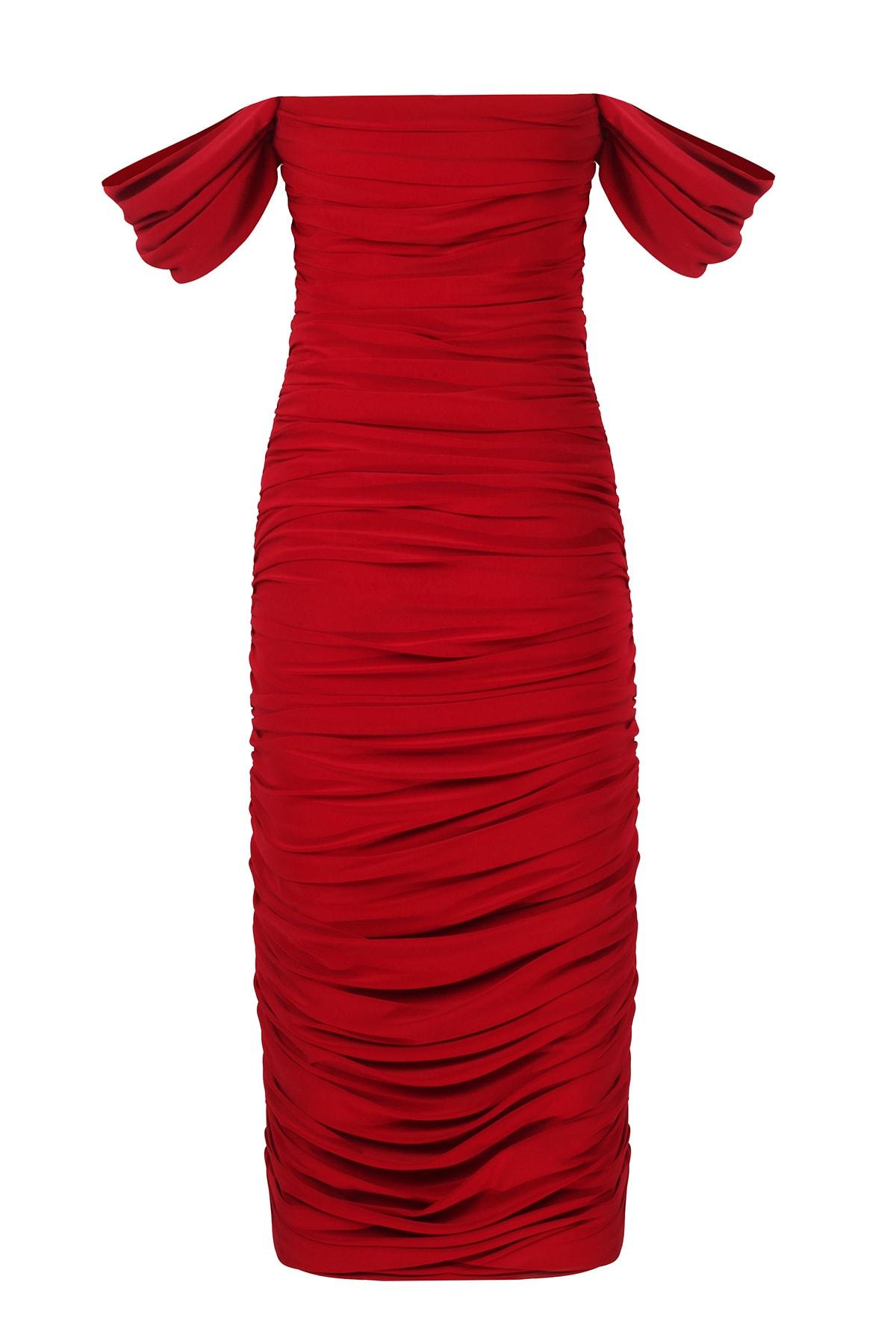 Whenever Company Düşük Kol Degajeli Drapeli Midi Kırmızı Elbise 2