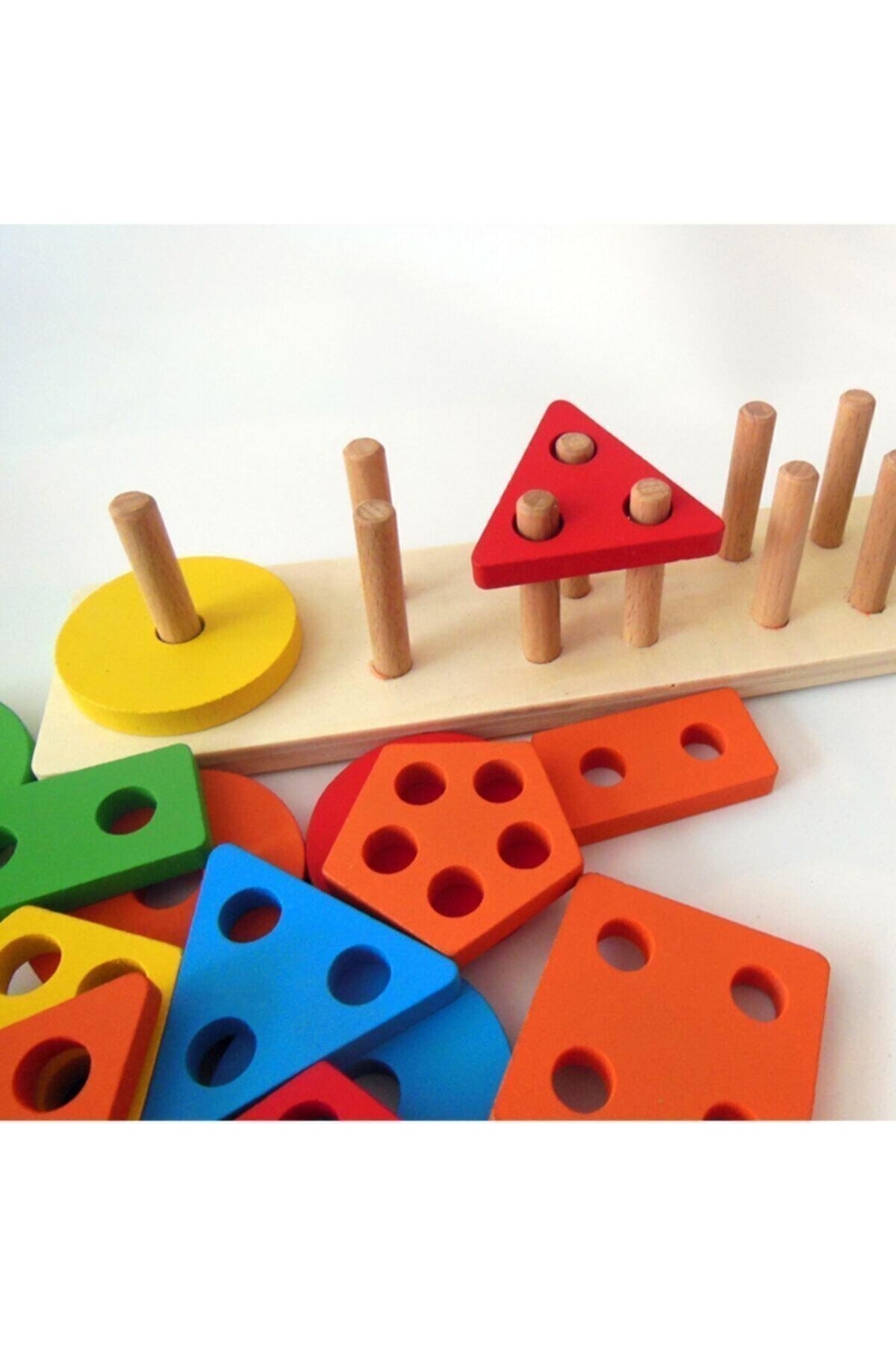 SİNKA Ahşap Eğitici 5'li Geometrik Şekil Yerleştirme Bultak Oyunu 2