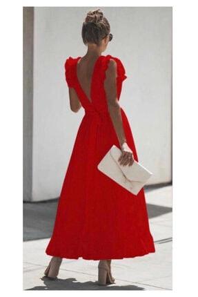 ELBİSENN Yeni Model Kadın Sırt Dekolteli Eteği Volanlı Maxı Boy Elbise (kırmızı)