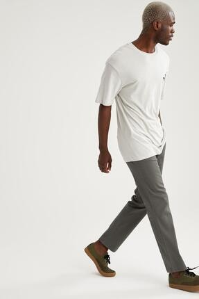 DeFacto Erkek Haki Regular Fit Basic Chino Pantolon