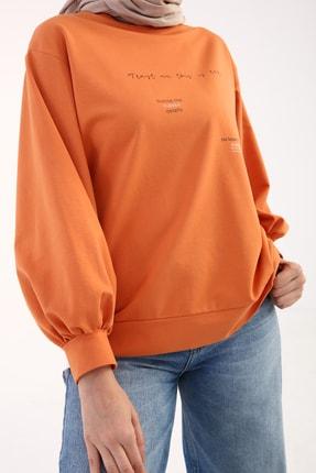 ALLDAY Kadın Turuncu Garnili Baskılı Sweatshirt
