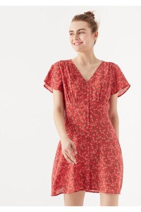 Mavi Papatya Baskılı Kırmızı Elbise