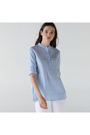 Lacoste Kadın Hakim Yaka Keten Açık Mavi Gömlek