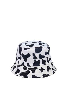 Güce Unisex Siyah Beyaz Inek Desenli Balıkçı Bucket Şapka Gc0139inekşapka