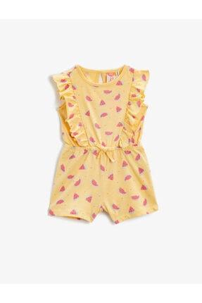 Koton Kız Çocuk Sarı Karpuzlu Fırfırlı Tulum