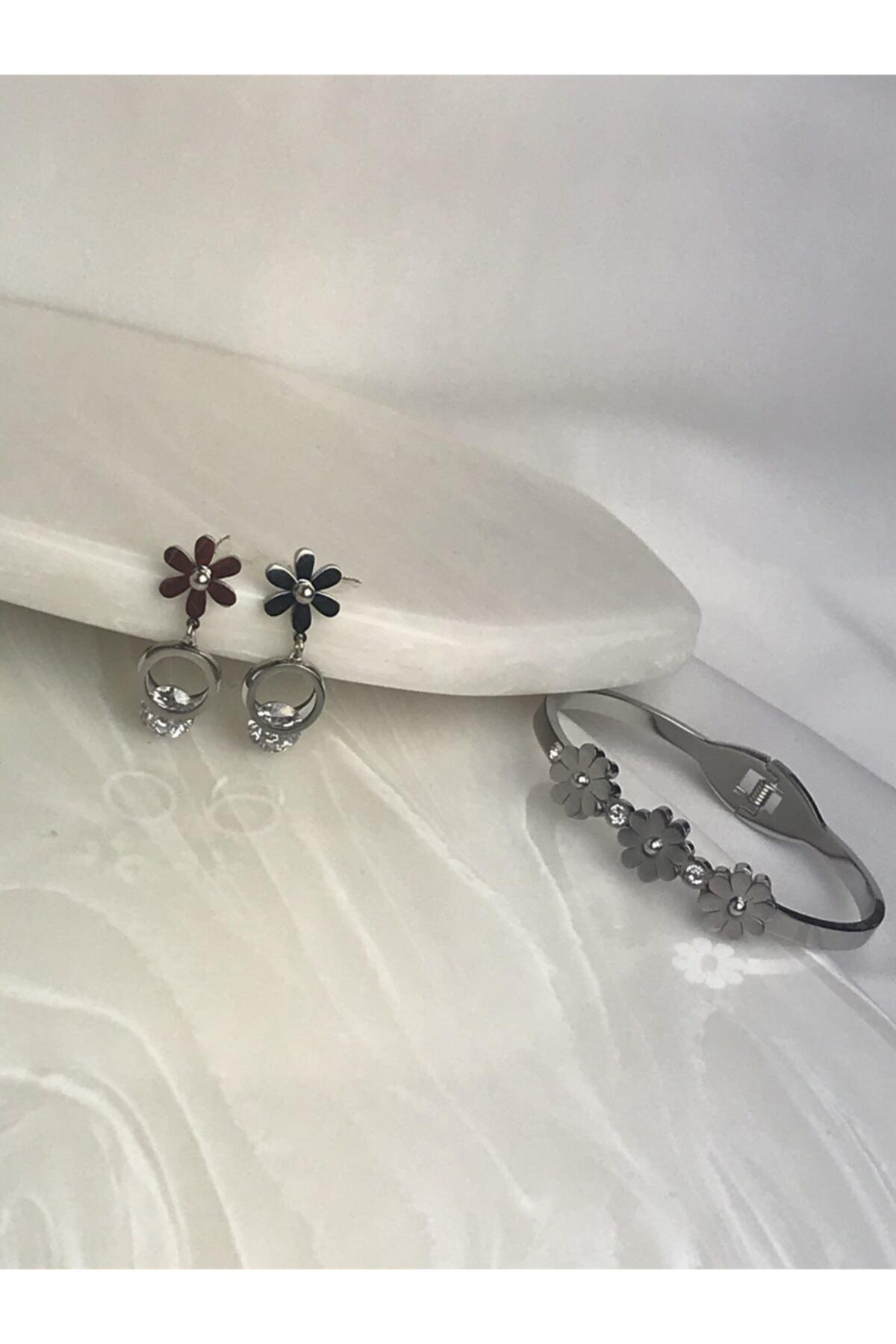mersaksesuar Çelik Kararmaz Çiçek Set Küpe Kelepçe 2
