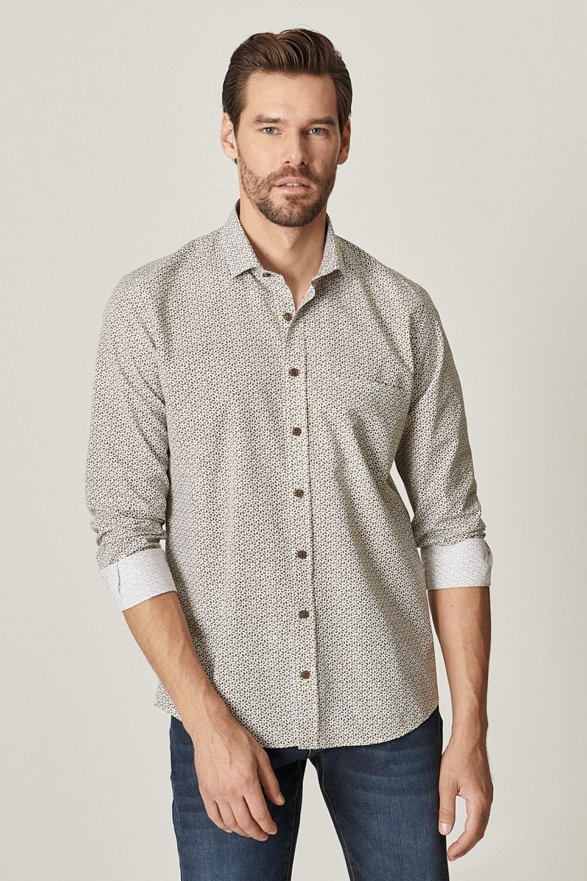 ALTINYILDIZ CLASSICS Tailored Slim Fit Dar Kesim Küçük Italyan Yaka Baskılı Gömlek 1