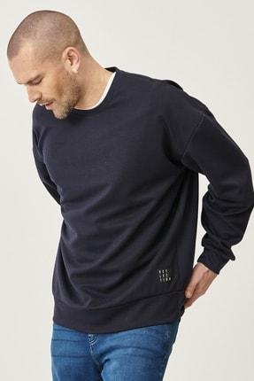AC&Co / Altınyıldız Classics Erkek Lacivert Günlük Rahat Sıfır Yaka Oversize Spor Sweatshirt