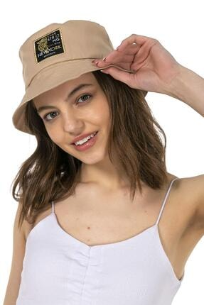 Y-London 14024 Kaplan Armalı Bej Bucket Şapka