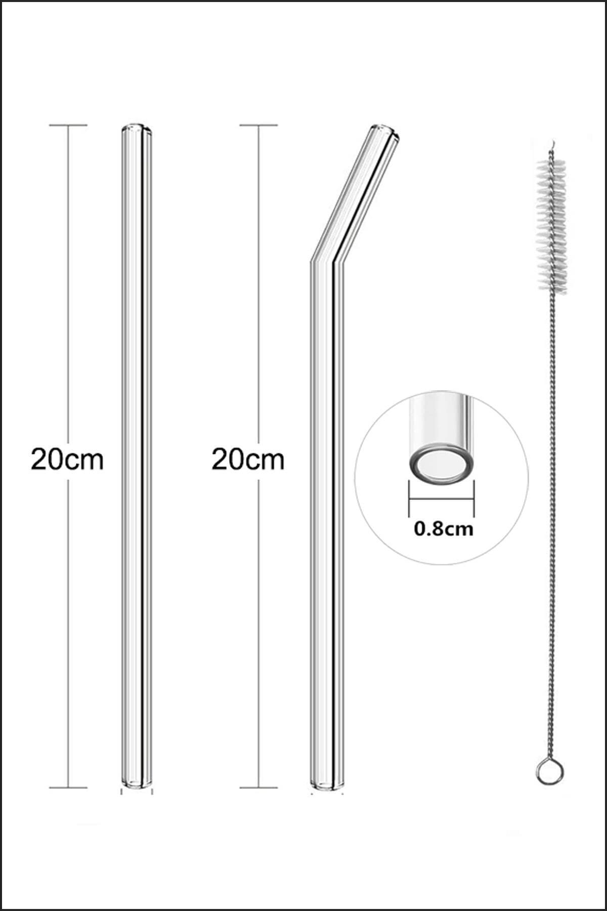 Kelebekev 6 Lı Cam Pipet + 3 Adet Temizleme Fırçası 21cm 2