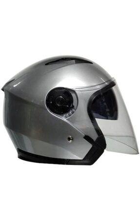 VENOM Jk-512 Yarım Yazlık Motosiklet Kaskı Güneş Vizörlü Metalik Gri