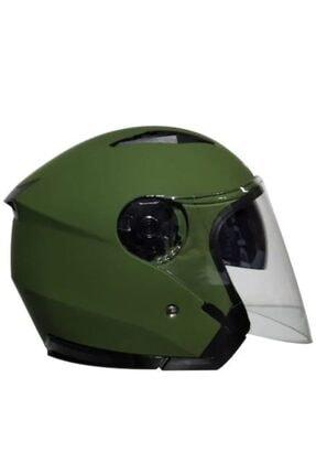VENOM Jk-512 Yarım Yazlık Motosiklet Kaskı Güneş Vizörlü Mat Yeşik