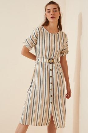 Happiness İst. Kadın Krem Çizgili İnce Keten Yazlık Elbise DD00875