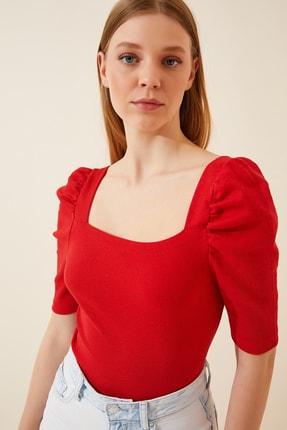 Happiness İst. Kadın Kırmızı Kare  Yaka Fitilli Crop Bluz GT00007