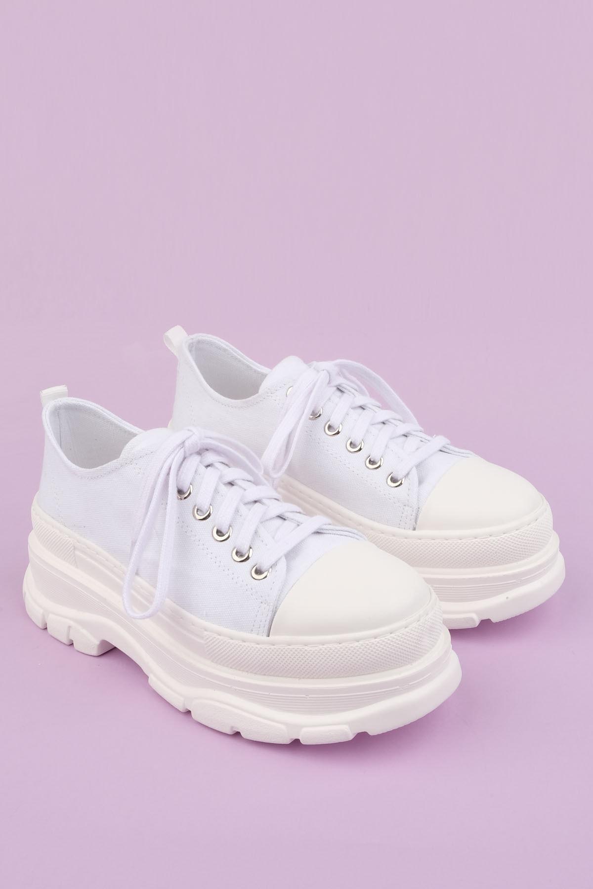 Marjin Kadın Sneaker Dolgu Topuk Spor Ayakkabı Ateznabeyaz 1