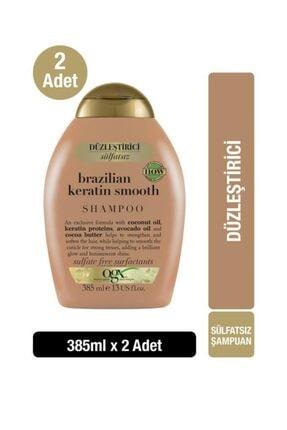 OGX Düzleştirici Brazilian Keratin Smooth Sülfatsız Şampuan 385 ml x2